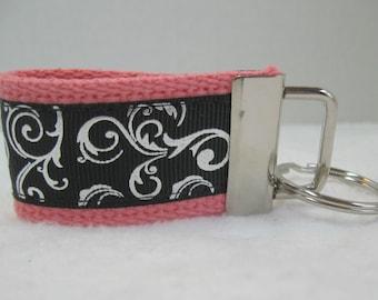 Silver Scroll Mini Key Fob -  CORAL  Black - Swirl Key Chain - Small Key Ring - Scroll Zipper Pull