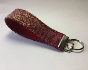 Wristlet Key Fob Handwoven Key Chain | Great Gift for Teacher | Red Gold Green