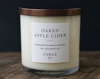 Oaked Apple Cider Soy Wax Candle with Bronze Metal Lid
