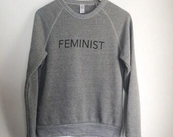 FEMINIST Crew Neck Sweatshirt, Heather Gray, Small, Fleece, Anna Joyce, Portland, OR