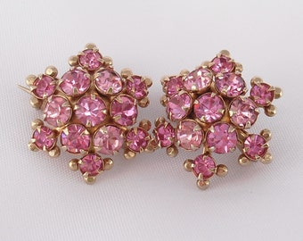 Rhinestone Scatter Pins Matching Set Vintage 1950s, Little Sweater Pins Pretty in Pink Gifts for Her