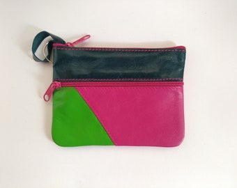 Purse, keychain and leather card with zipper closure. Keychain leather wallet with zip closure