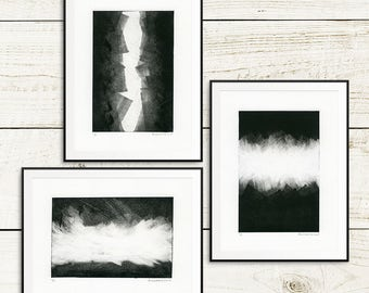 "Handmade art print set, ""Stormfront"", monotype prints, monoprints, original art prints, one of a kind, unique art prints, Canadian art"