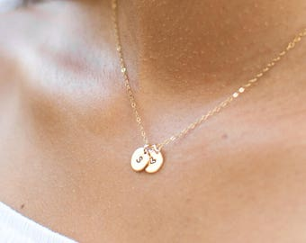 Tiny Initial Necklace | Gold Letter Necklace | Gold Initial Necklace | Dainty Heart Necklace | Personalized Jewelry | Gift for mom