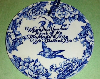 STAFFORDSHIRE Royal Crownford Wall Plate - Blue & White Ironstone with Poetic Message ~ Made in England ~ Vintage Hard to Find