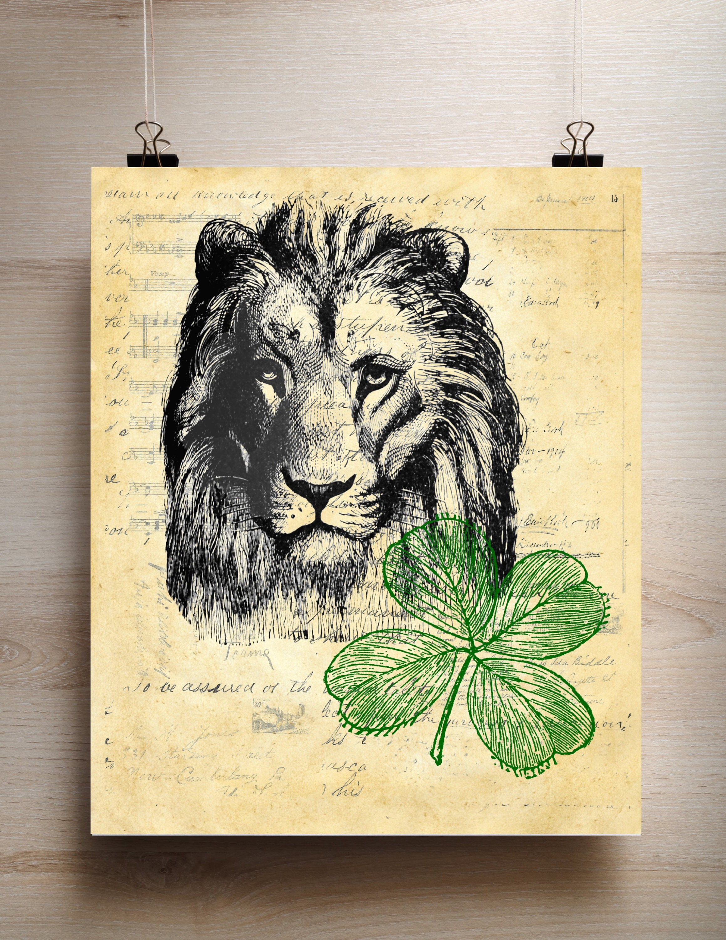 Lion Green Clover vintage image on choice of reproduction antique ...