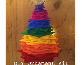 Rainbow Christmas ornament DIY Kit, Felt Christmas Tree Ornament, Rainbow colors