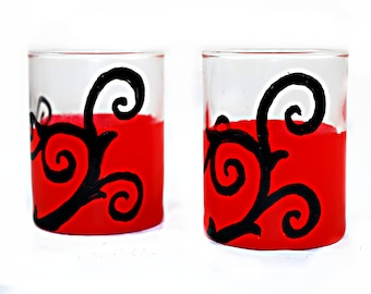 Tim Burton Style Hand Painted Red with Black Swirl Vine Shot Glasses - Set of 2 - Dark Decors - Gothic Gifts - Gifts under 25
