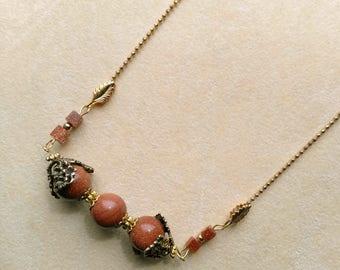 Goldstone Pendant . Round Goldstone Bead Necklace . Round& Square Bead Necklace . Horizontal Pendant- Sparkly Jewel by enchantedbeas on Etsy