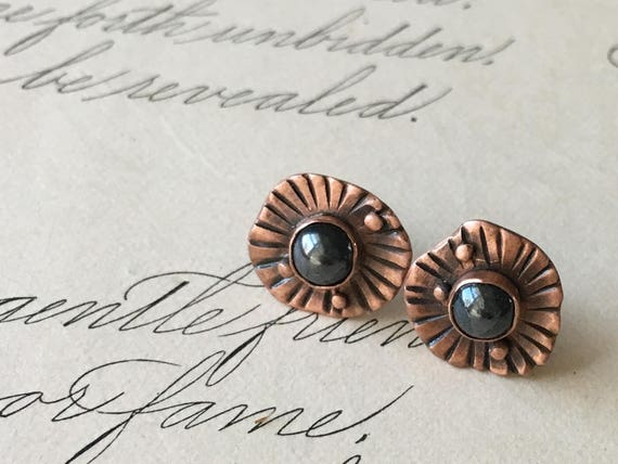 Hematite Earrings, Copper and Stone, Small Copper Earrings, Copper Studs