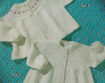 Instant PDF Download  baby matinee coats  knitting pattern  double knit (548)