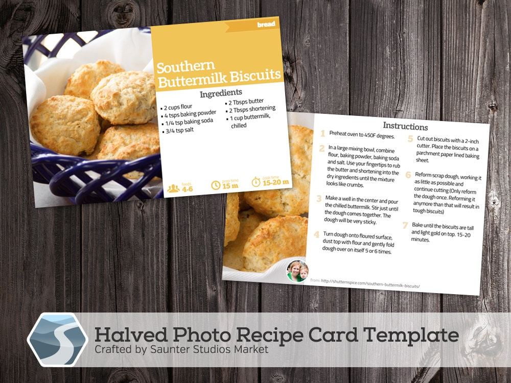 Halved photo recipe card 4x6 printable photoshop template zoom forumfinder Gallery