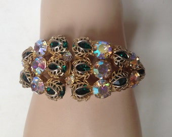 Juliana Delizza and Elster Emerald Green Gold Filigree Leaves AB Clamper Bracelet – 1960s Jewelry