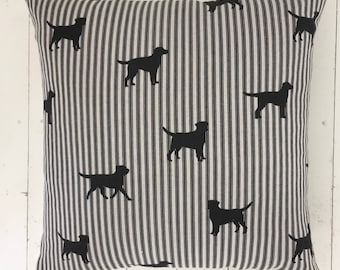 Black Dog Cushion Pillow with Vintage Linen Backing