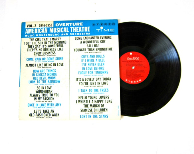 American Musical Theatre Overture Volume 3 Vinyl Record Album with Poster 12 Inch LP Vintage Music Time Record Album