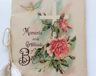 Vintage 1920s-early 30s Memento and certificate of baptisim Booklet - Baby Book - Paper Ephemera
