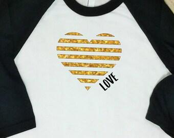 Valentines Shirt- Gold Glitter- Girls Valentine Shirt-Raglan Sleeve-Pink-Teen Valentine Shirt-Girls Raglan Sleeved Valentines Day Shirt