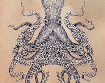 Octopus Card Hand Drawn Blank Nautical Card