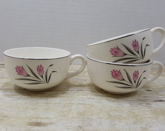 Set of 3 Tea Cups, Mid Century, pink floral, 1960s