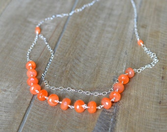 Natural Carnelian Necklace, Sterling Silver Necklace, Double Strand Gemstone Necklace. Ready to ship
