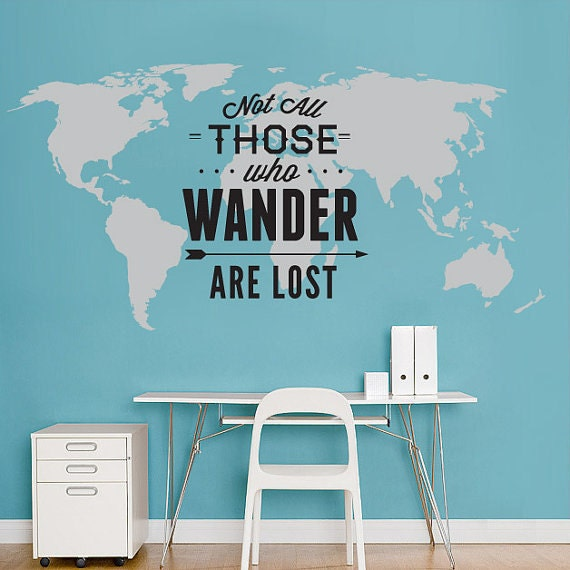 World map decal not all those who wander are lost large like this item publicscrutiny Images