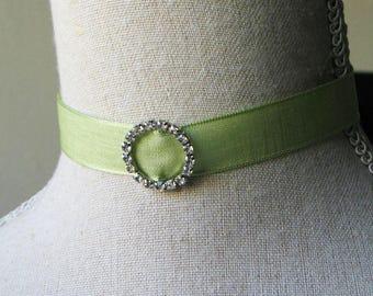 Spring Green Ribbon with Rhinestone Choker, 18th century jewelry, 19th century jewelry