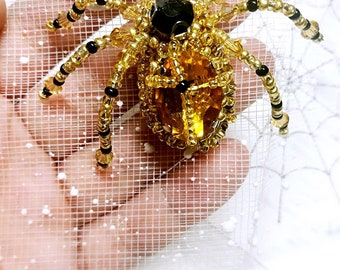 DIY Handmade Inset Spider Animal Brooch Kit, Beading Craft, Bead Embroidery,Jewelry,Gift,Decoration