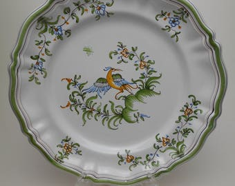 Lallier Moustiers Faience Beautiful Plate - Bird Design - Made in France