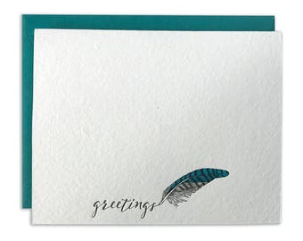 Letterpress Card Greetings Plume