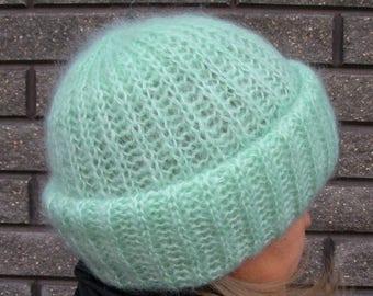 Knit beanie Slouchy beanie Hand knitted beanie Winter hat Winter knit slouchy hat Chunky slouchy hat Slouchy beanie Blue gift TakOri