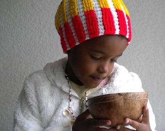 Rasta beanie, white rasta hat, vertical stripes dreadlock tam, reggae clothing, Jamaica, Africa wear