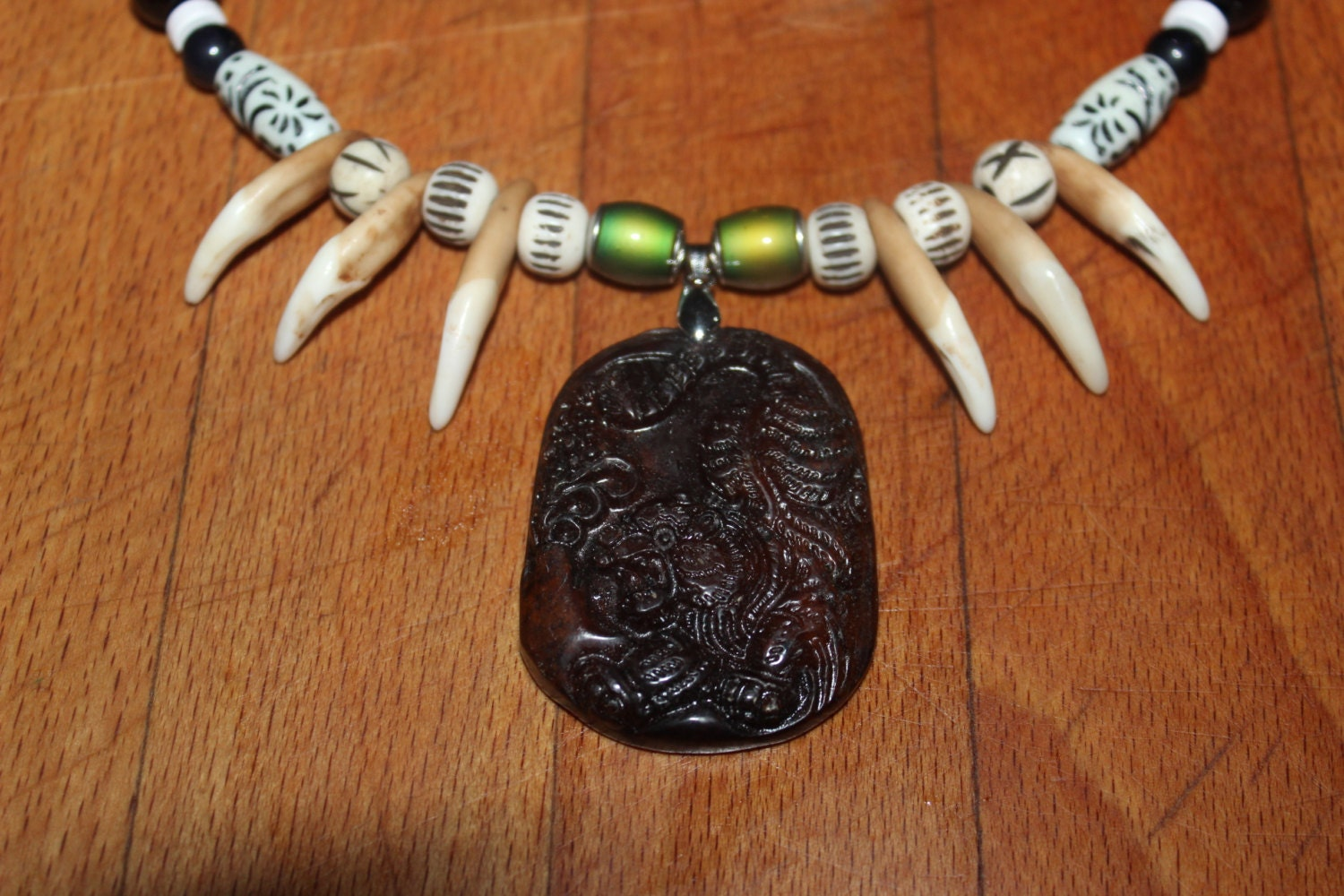 Wolf tooth necklace 20 carved chinese old jade tiger pendant 1 mozeypictures Gallery