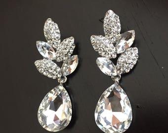Crystal Bridal Earrings Wedding Earrings Wedding Jewelry Statement Bridal Earrings Bridal Teardrop Bridal Jewelry Set Drop Earrings