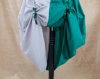 Witch Wizard Half And Half Full Length Green And Silver House Colours Cosplay Bustle Skirt-One Size Fits All