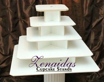 Cupcake Stand White Melamine 5 Tier Square 150 Cupcakes with Threaded Rod Wood Cupcake Tower Wedding Stand Birthday Stand Display Stand