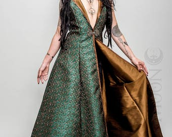 "NEW: The Metallic Green ""Abstract Triangles"" REVERSIBLE to Gold Opera Vest Hooded Long Dress by Opal Moon Designs (Size S-XXL)"