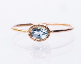 Aquamarine Ring, Engagement Rings, Diamond Ring,  Blue Gemstone Ring,  Rose Gold Engagement Ring, Unique Engagement Ring, Anniversary Ring