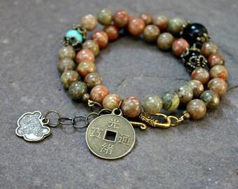 Autumn Jasper Yoga Wrap Bracelet with Lucky Coin