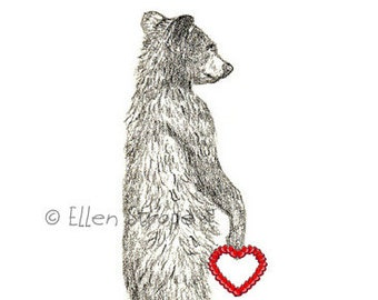 VALENTINE, Cards, Note cards, Valentine's Day card, bear, bear decor, cabin decor, drawings, bear drawings, Ellen Strope