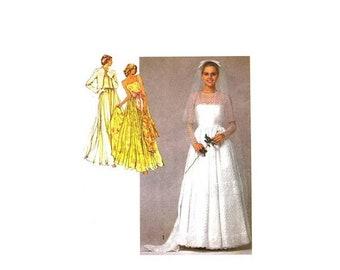 SALE Misses Bridal Gown Wedding Dress Bridesmaid Dress Bolero Jacket Simplicity 9364 Vintage Sewing Pattern Size 14 Bust 36 UNCUT