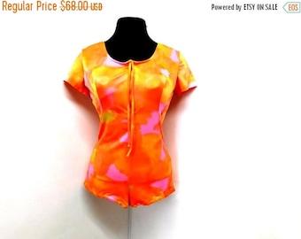 STOREWIDE CLEARANCE Vintage 60s Rose Marie Reid Day Glo Rave Club Kid Pink Orange Neon Playsuit Romper Onesie Spandex Romper Booty Shorts L
