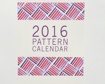 2016 Illustrated Pattern 12 Month Wall  Calendar