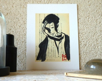 Drawing ink - woman Portrait with a tuft of hair - limited edition digital print / signed / numbered