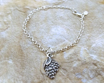 Sterling Silver Grapes Charm  Sterling Silver Rolo Bracelet - 0468