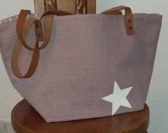 Purple Star tote bag white