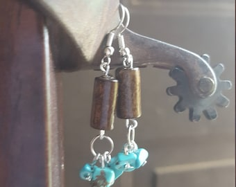 Wood and turquoise, earrings, dangles, boho jewelry, hypoallergenic