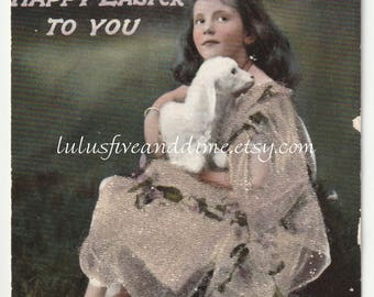 Vintage Tuck's Easter Postcard - Tinted Real Photo with Beaded Accents