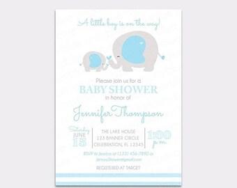JUNE SALE Boy Elephant Baby Shower Invitation - Baby & Mama Elephant - Baby Blue Elephant Baby Shower Invite - Printable Jungle Baby Sprinkl