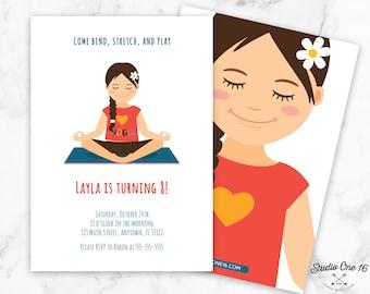 Yoga Birthday Invitation, Yoga Invitation, Yoga Party Invite, Yoga Party, Girl Invite, Kids Yoga Party, Kids Yoga Birthday, Zen Birthday