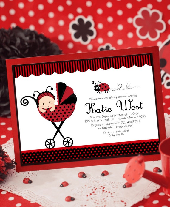 Items Similar To DIY PRINTABLE Invitation Card   Red Lady Bug Baby Shower  Invitation   BS815CB1a3 On Etsy